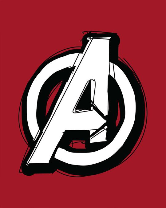 Shop Avengers Doodle Logo Scoop Neck Full Sleeve T-Shirt (AVL)