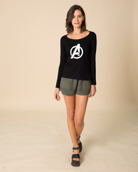 Shop Avengers Doodle Logo Scoop Neck Full Sleeve T-Shirt (AVL)-Full