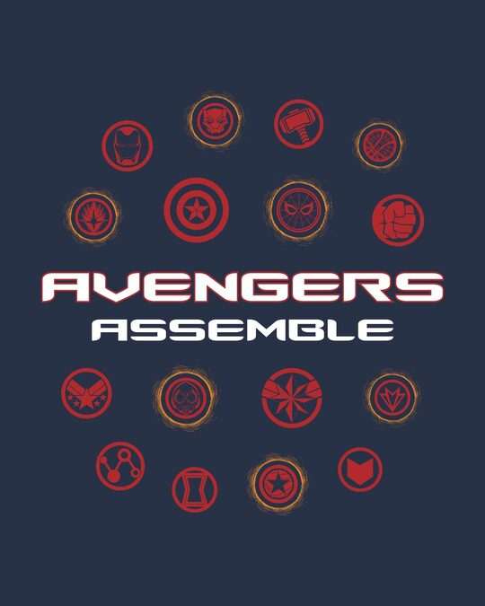 Shop Avengers Endgame Logos Half Sleeve T-Shirt (AVL)-Full