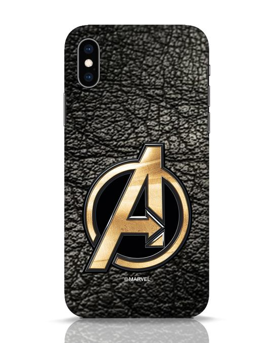 Shop Avengers Gold Logo iPhone XS Mobile Cover-Front