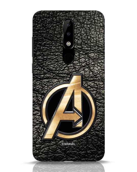 Shop Avengers Gold Logo Nokia 5.1 Plus Mobile Cover-Front