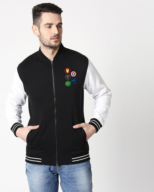 Shop Avengers Hero Badge  Varsity Bomber Jacket-Front