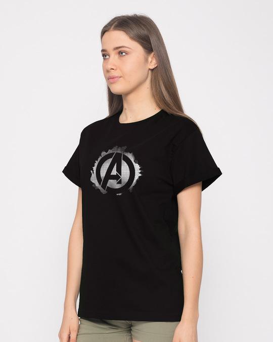 Shop Avengers Inked Boyfriend T-Shirt (AVL)-Back