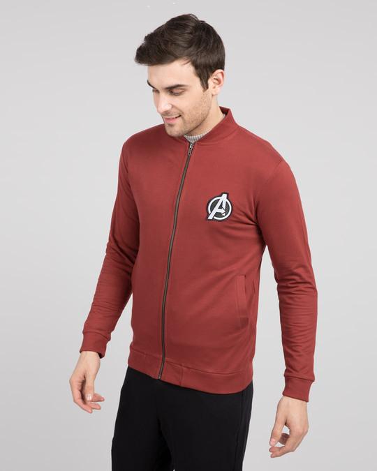 Shop Avengers Logo Badge Zipper Bomber Jacket-Back