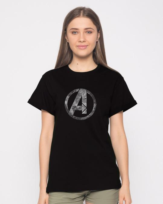 Shop Avengers Logo Distressed Boyfriend T-Shirt (AVL)-Front