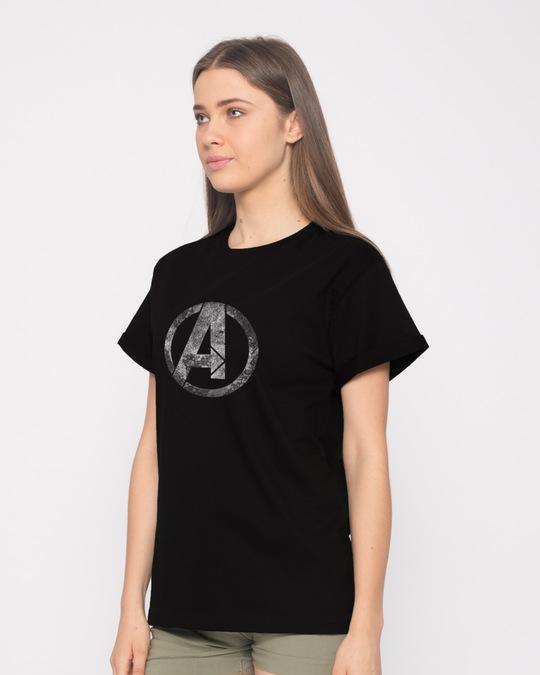 Shop Avengers Logo Distressed Boyfriend T-Shirt (AVL)-Back
