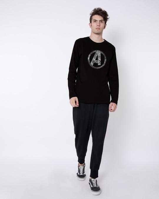 Shop Avengers Logo Distressed Full Sleeve T-Shirt (AVL)