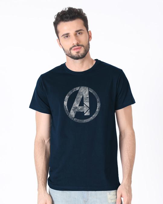 Shop Avengers Logo Distressed Half Sleeve T-Shirt (AVL)-Back