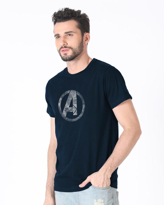 Shop Avengers Logo Distressed Half Sleeve T-Shirt (AVL)-Full