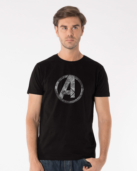 Shop Avengers Logo Distressed Half Sleeve T-Shirt (AVL)-Back
