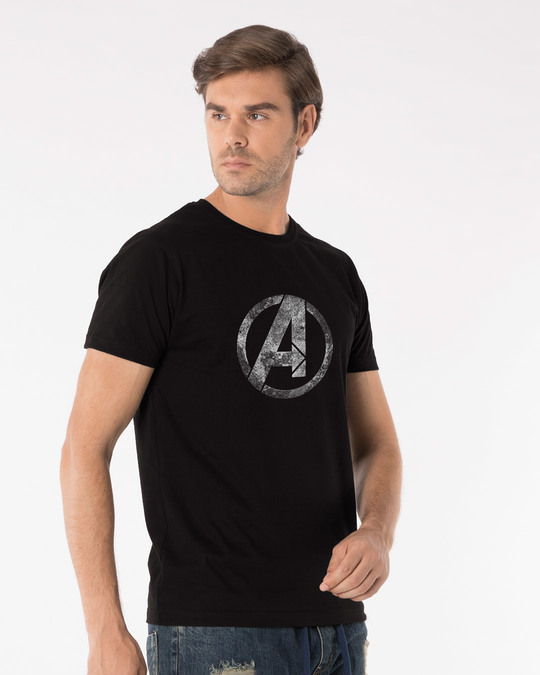 Shop Avengers Logo Distressed Half Sleeve T-Shirt (AVL)-Full