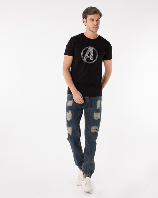 Shop Avengers Logo Distressed Half Sleeve T-Shirt (AVL)