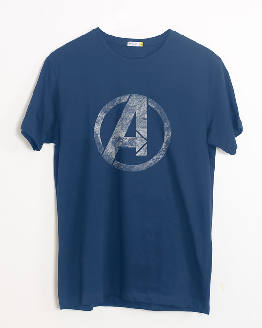 Shop Avengers Logo Distressed Half Sleeve T-Shirt (AVL)-Front