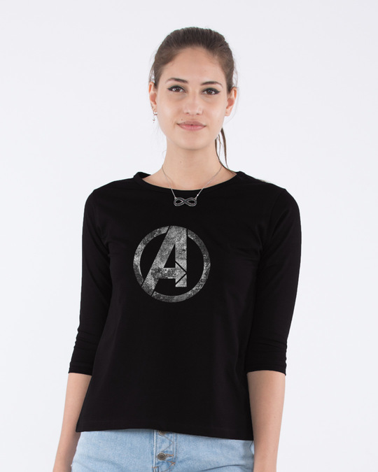 Shop Avengers Logo Distressed Round Neck 3/4th Sleeve T-Shirt (AVL)-Front