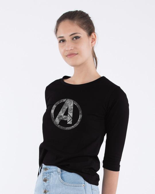 Shop Avengers Logo Distressed Round Neck 3/4th Sleeve T-Shirt (AVL)-Back