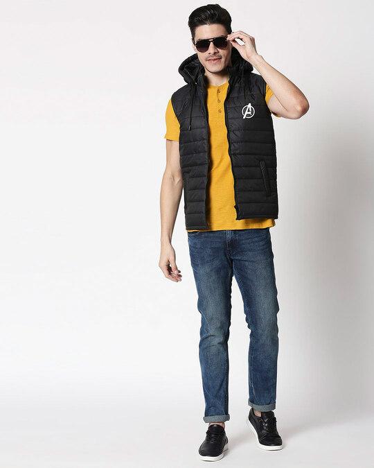 Shop Avengers Logo Sleeveless Puffer Jacket with Detachable Hood-Design