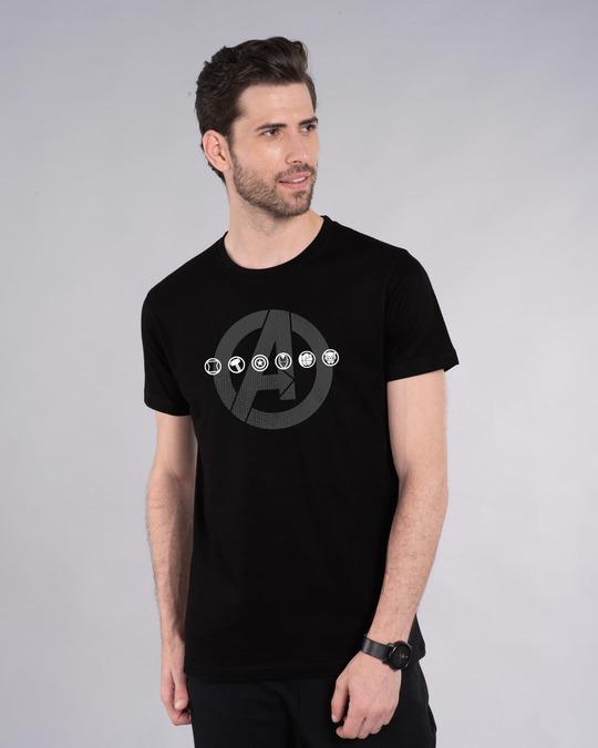 Shop Avengers Logo Unite Half Sleeve T-Shirt (AVL)-Front