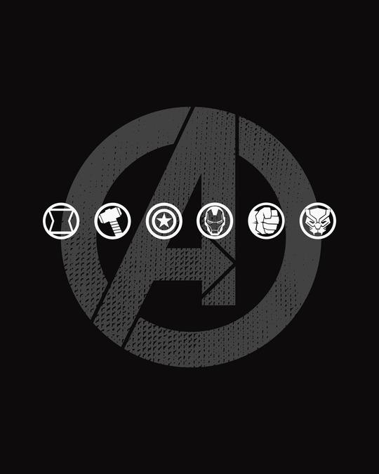 Shop Avengers Logo Unite Half Sleeve T-Shirt (AVL)-Full