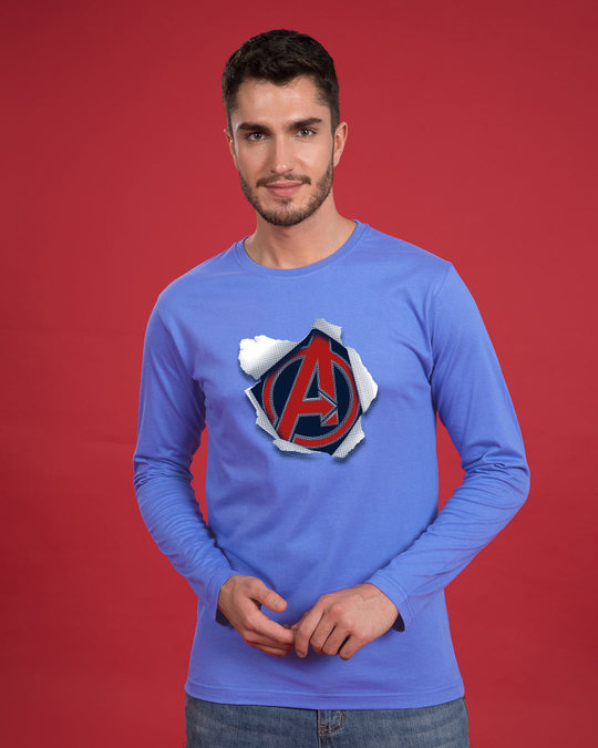 Shop Avengers Paper Full Sleeve T-Shirt (AVL)-Front