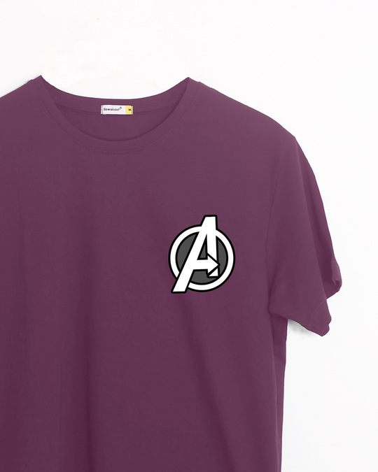 Shop Avengers Printed Badge Half Sleeve T-Shirt (AVL)-Front