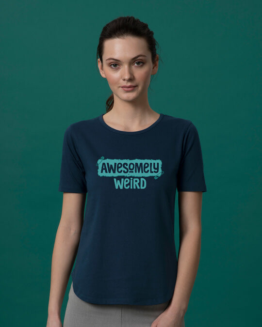 Shop Awesome And Weird Basic Round Hem T-Shirt-Front