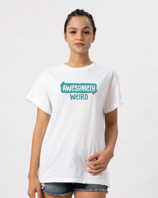 Shop Awesome And Weird Boyfriend T-Shirt-Front