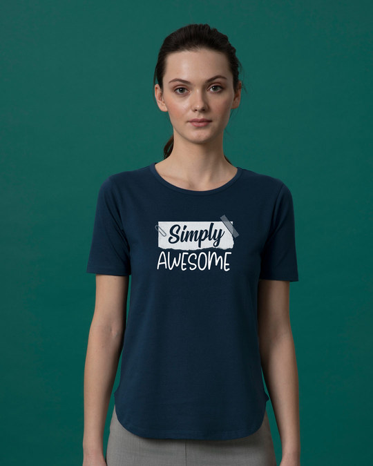 Shop Awesome Simply Basic Round Hem T-Shirt-Front