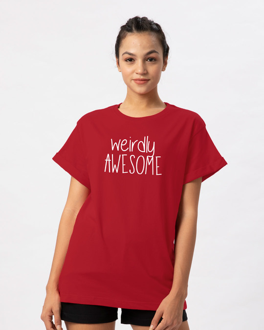 Shop Awesomely Weird Boyfriend T-Shirt-Front