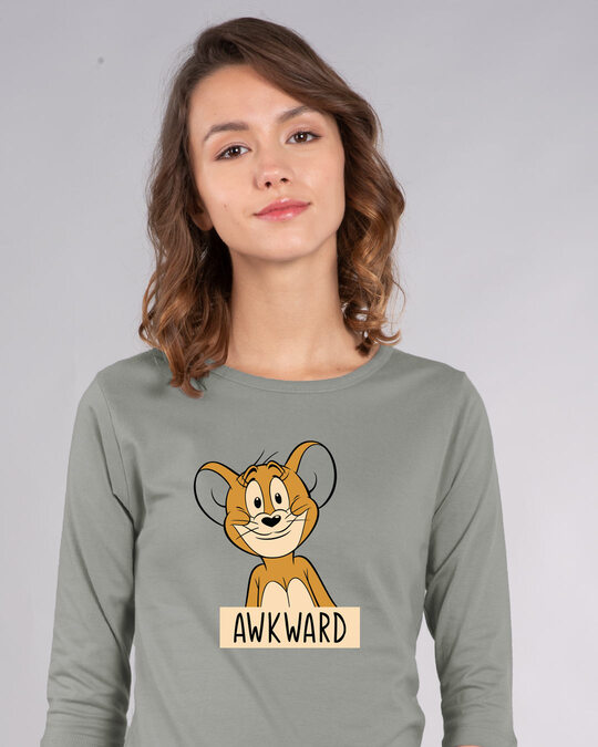 Shop Awkward Jerry Round Neck 3/4th Sleeve T-Shirt (TJL)-Front