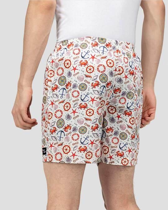 Shop What's Down | Aye Aye Captain Boxer Shorts | White Nautical Boxers-Design