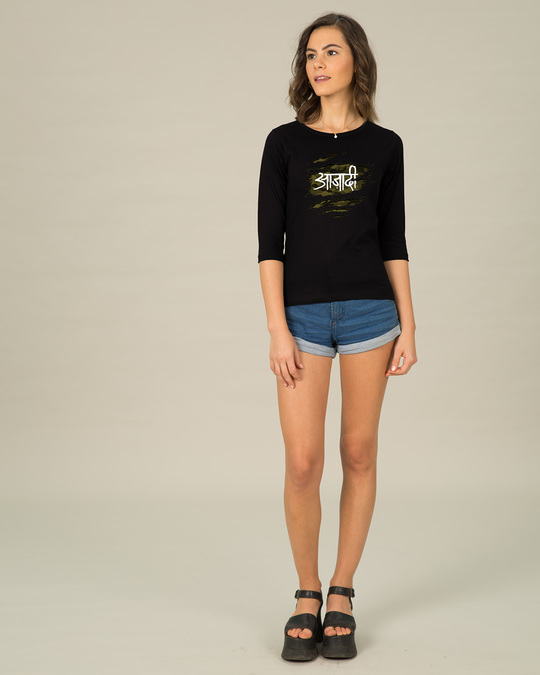 Shop Azaadi Round Neck 3/4th Sleeve T-Shirt-Full