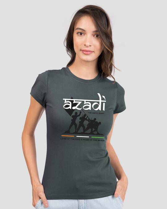 Shop Azadi Birth Right Half Sleeve T-Shirt - Nimbus Grey-Front