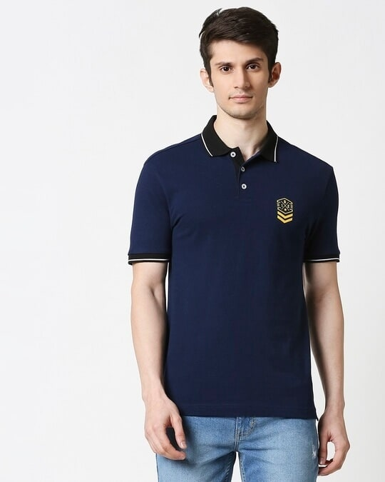 Shop B12 Baleine Blue Half Sleeve Tipping polo-Back