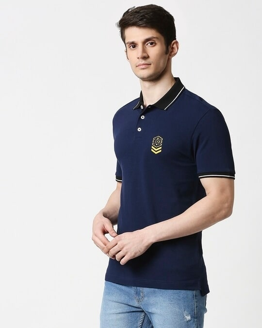 Shop B12 Baleine Blue Half Sleeve Tipping polo-Design