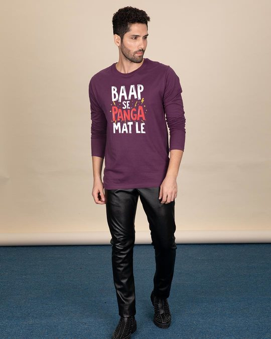 Shop Baap Se Panga Mat Le Full Sleeve T-Shirt-Design