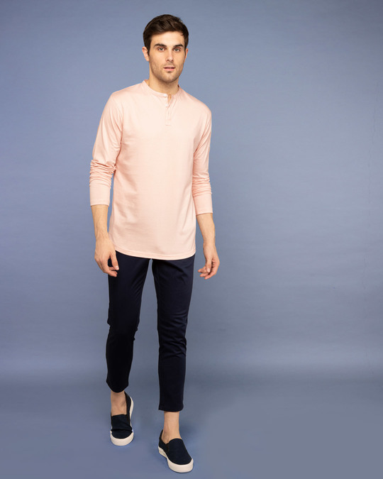 Shop Baby Pink Full Sleeve Henley T-Shirt-Full