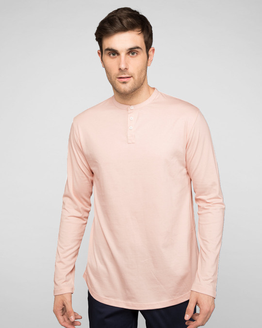 Shop Baby Pink Full Sleeve Henley T-Shirt-Front