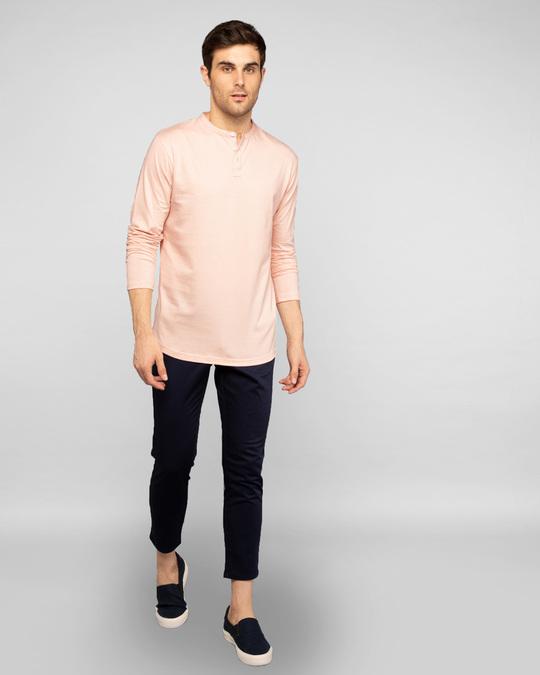 Shop Baby Pink Full Sleeve Henley T-Shirt-Full