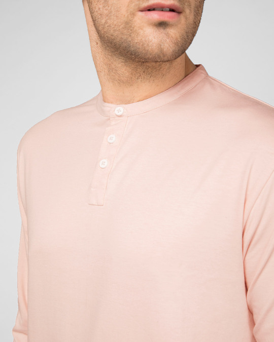 Shop Baby Pink Full Sleeve Henley T-Shirt
