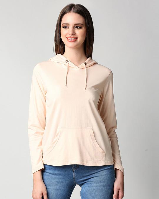 Shop Baby Pink Full Sleeve Hoodie T-Shirt-Back