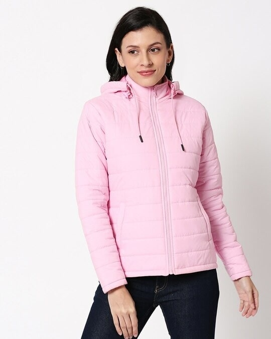 Shop Baby Pink Plain Puffer Jacket with Detachable Hood-Back