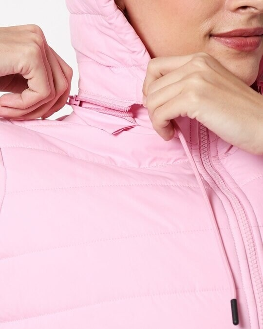 Shop Baby Pink Plain Puffer Jacket with Detachable Hood
