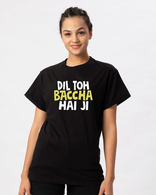 Shop Bachcha Dil Boyfriend T-Shirt-Front
