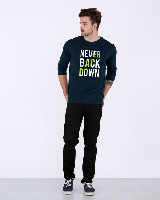 Shop Back Down Never Full Sleeve T-Shirt