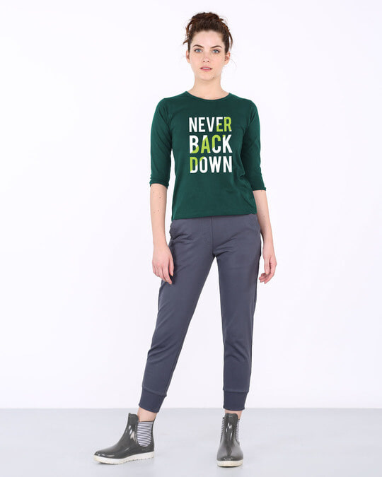Shop Back Down Never Round Neck 3/4th Sleeve T-Shirt-Full