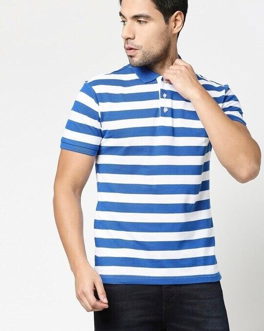 Shop Baleine Blue & White Half Sleeve Stripes Polo-Front