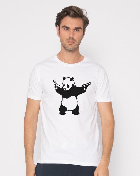 Shop Banksy Panda Half Sleeve T-Shirt-Back