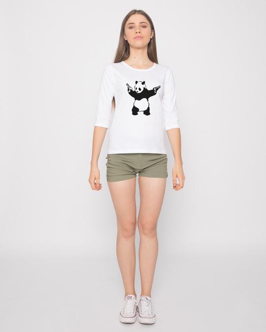 Shop Banksy Panda Round Neck 3/4th Sleeve T-Shirt-Full
