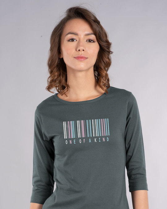 Shop Barcode One Of A Kind Round Neck 3/4th Sleeve T-Shirt-Front