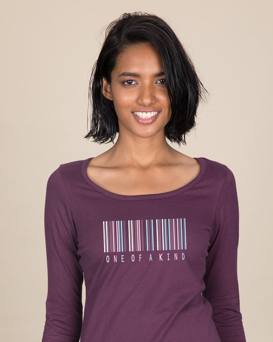 Shop Barcode One Of A Kind Scoop Neck Full Sleeve T-Shirt-Front